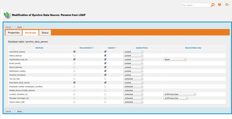 Synchronization Data Sources menu