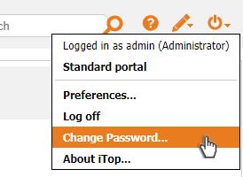 Change Password menu item