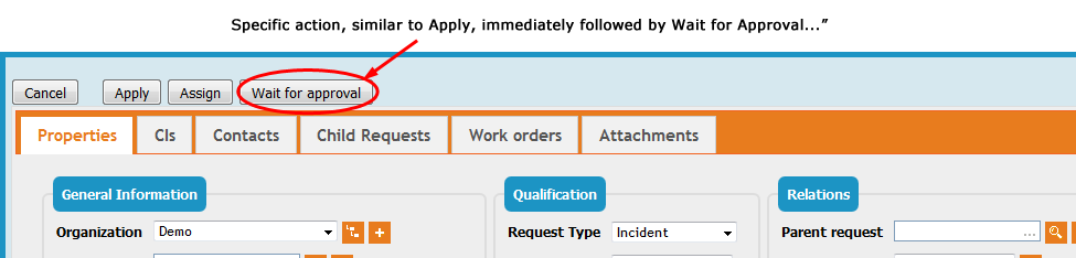 Ticket Specific Actions buttons