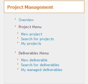 Project Management Menu
