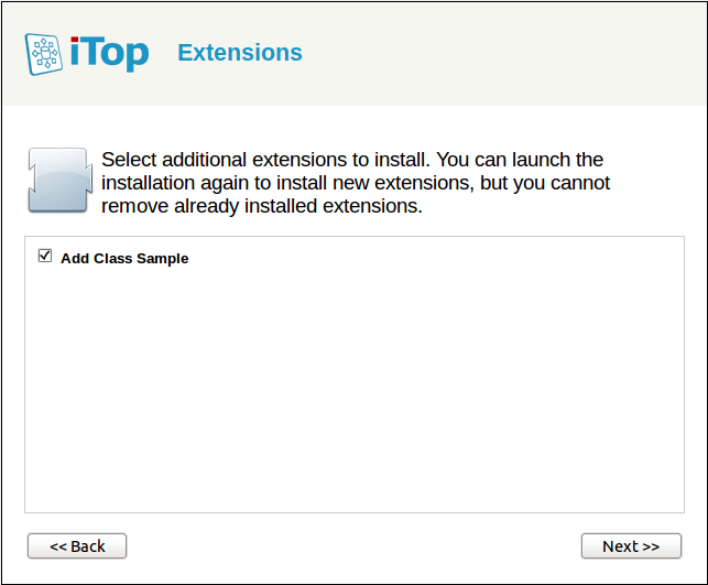 Select the new extension