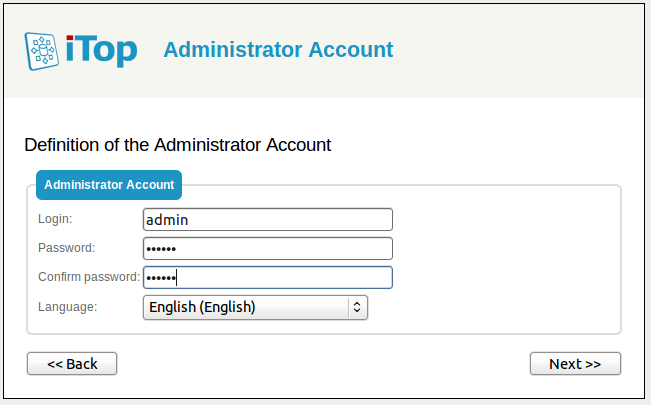 Step 5: Admin account