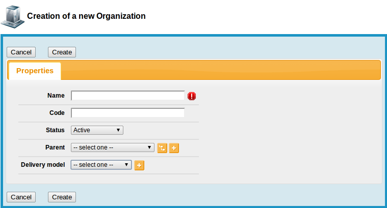 New Organization form