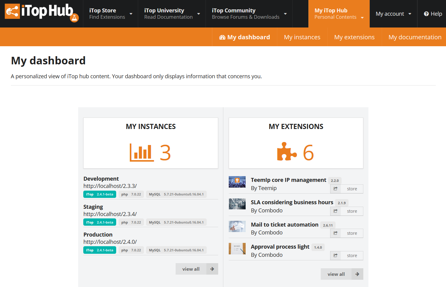 iTop Hub Dashboard
