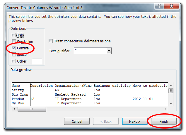 Excel Text to Columns Wizard