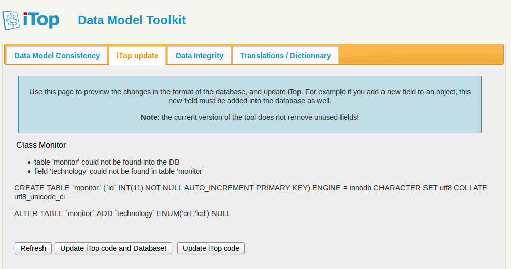 Updating the database schema with the toolkit