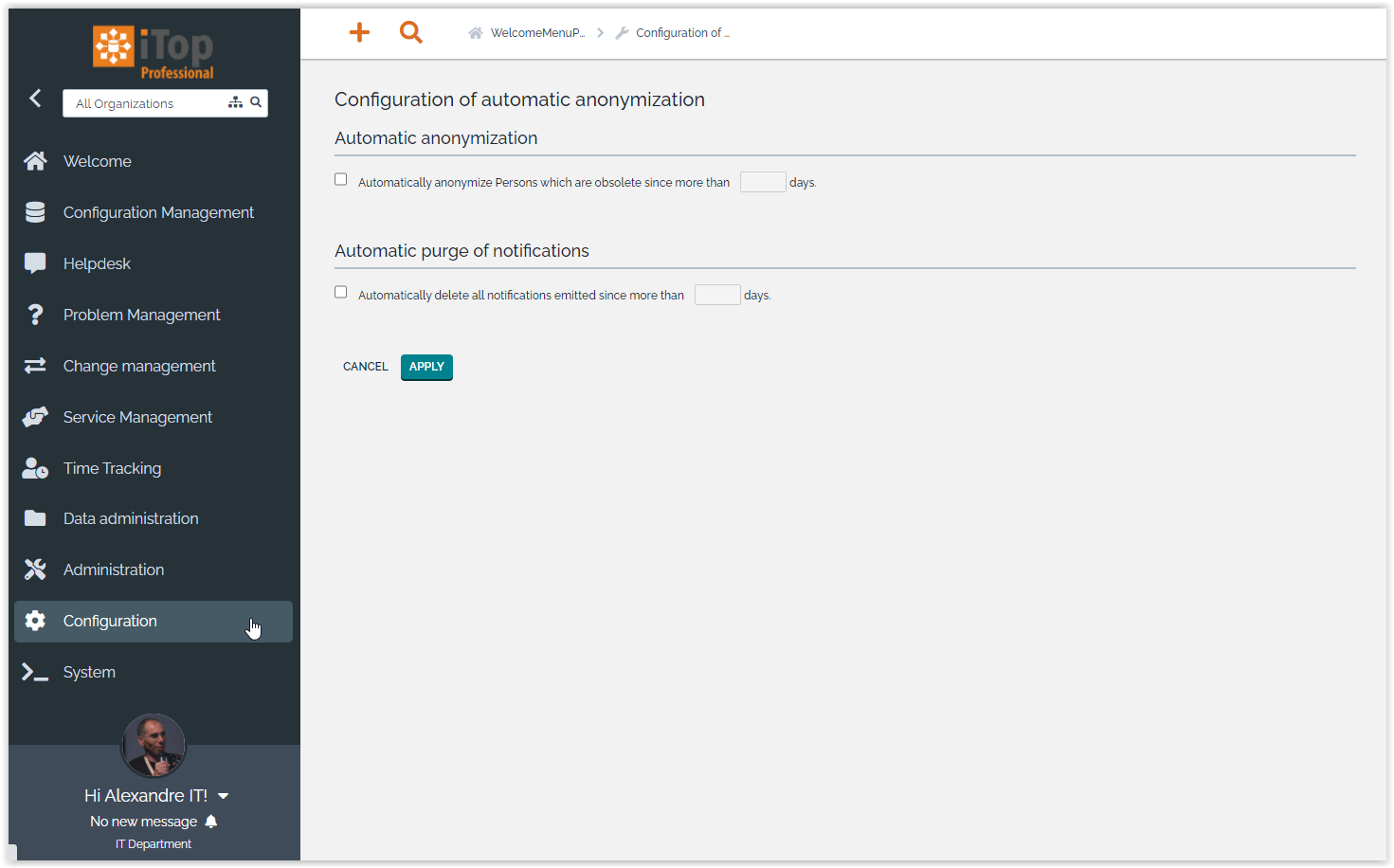 Configuration of the Automatic Anonymization
