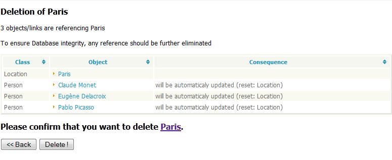 Delete confirmation page