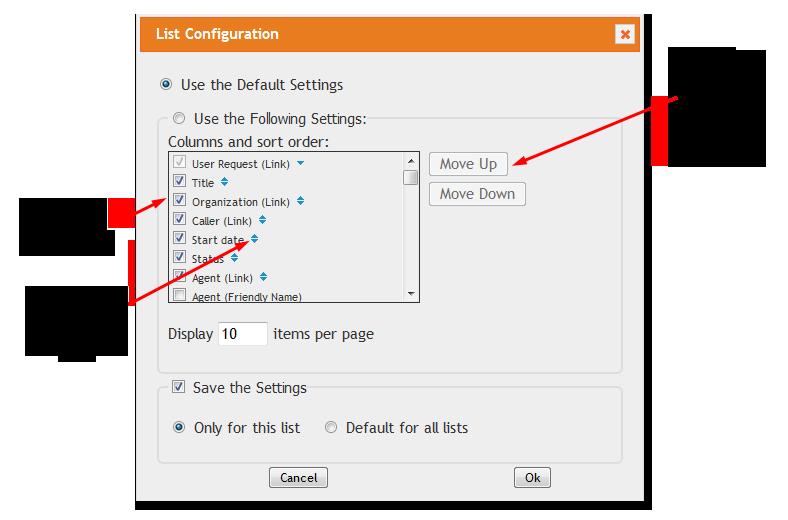 List Configuration Dialog