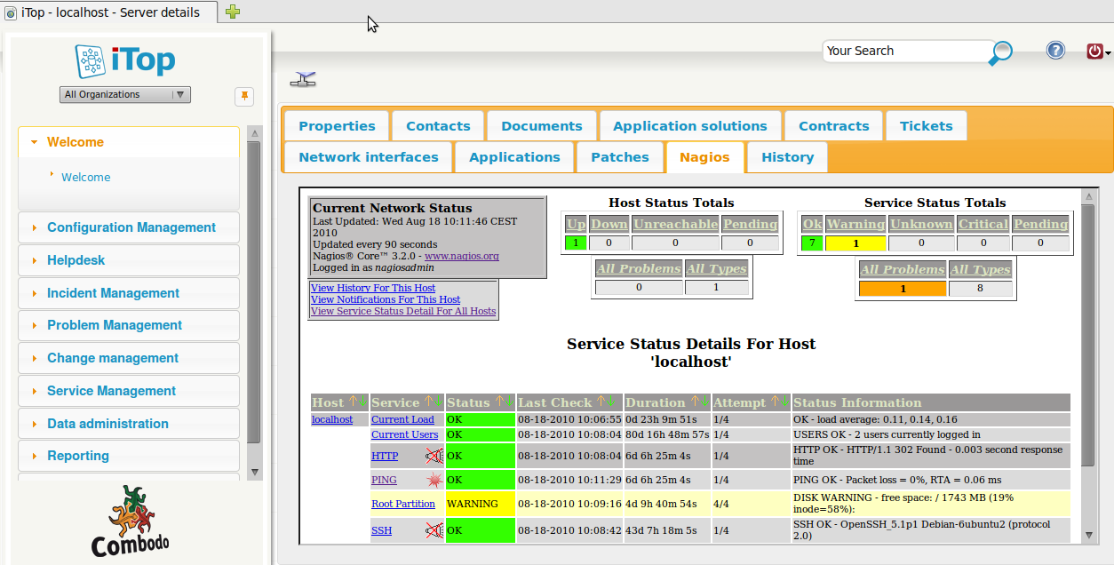 Integrating iTop with Nagios [iTop Documentation]