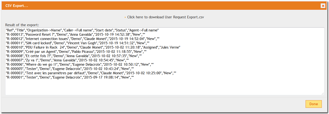 CSV Export results